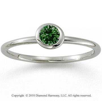 14k White Gold Round Bezel Emerald Stackable Ring