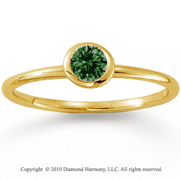 14k Yellow Gold Round Bezel Emerald Stackable Ring