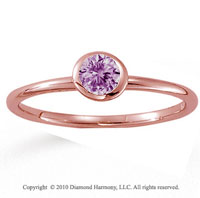 14k Rose Gold Round Bezel Pink Sapphire Stackable Ring