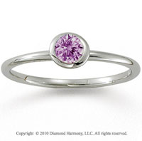 14k White Gold Round Bezel Pink Sapphire Stackable Ring