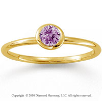 14k Yellow Gold Round Bezel Pink Sapphire Stackable Ring