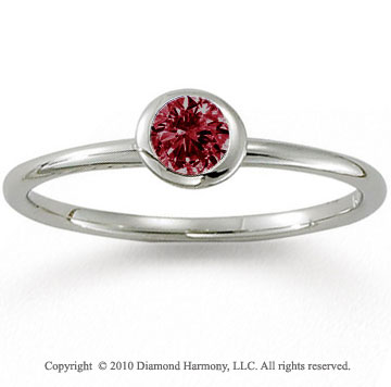 14k White Gold Round Bezel Ruby Stackable Ring