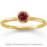 14k Yellow Gold Round Bezel Ruby Stackable Ring