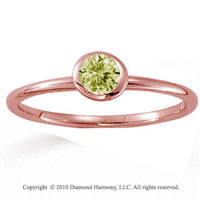 14k Rose Gold Round Bezel Yellow Sapphire Stackable Ring