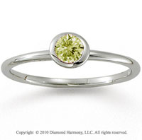 14k White Gold Round Bezel Yellow Sapphire Stackable Ring