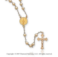 14k Yellow Gold Divine Mercy Crucifix Bead Holy Rosary
