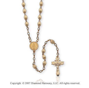 14k Y Gold Blessed Virgin Mary Oval Fluted Holy Rosary
