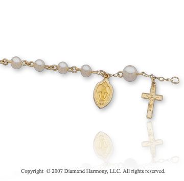 14k Yellow Gold Divine Freshwater Pearl Holy Rosary