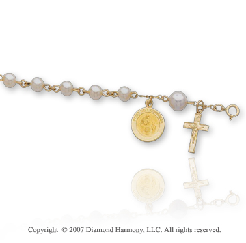 14k Y Gold Holy Communion Freshwater Pearl Holy Rosary