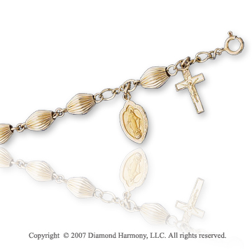 14k Yellow Gold Blessed Mother Oval Fluted Holy Rosary