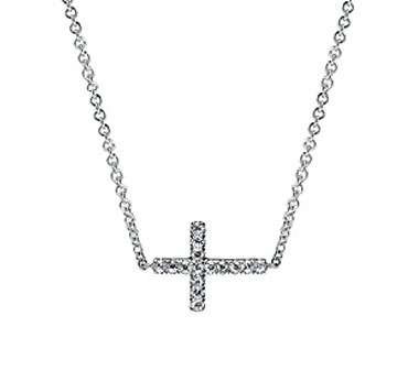 Sterling Silver White Sapphire Sideways Cross Necklace