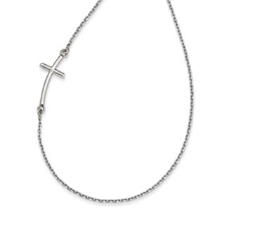 14k White Gold Large Sideways Curved Cross Necklace