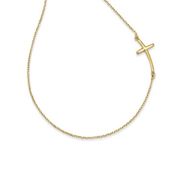 14k Yellow Gold Large Sideways Curved Cross Necklace