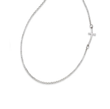 Sterling Silver Small Sideways Curved Cross Necklace