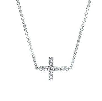 14k White Gold Diamond Sideways Cross
