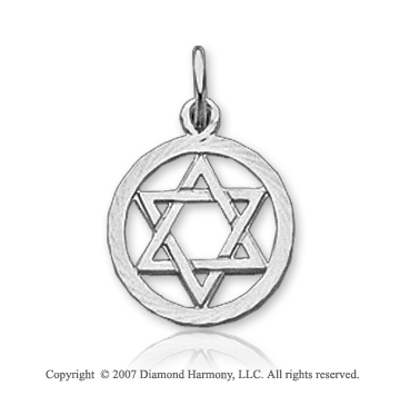 14k White Gold Round Border Small Star of David Pendant