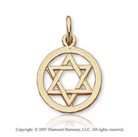 14k Yellow Gold Round Border Star of David Pendant