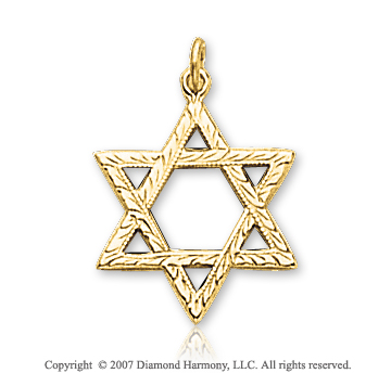 14k Yellow Gold Glorious Small Star of David Pendant