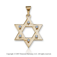 14k Yellow Gold Diamond Medium Star of David Pendant