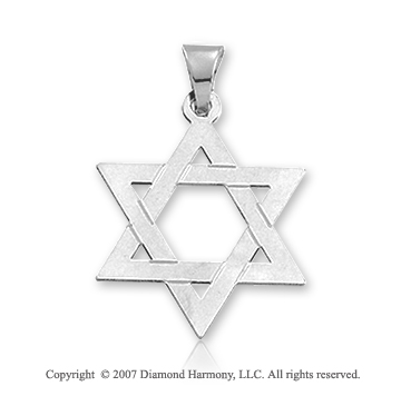 14k White Gold Traditional Medium Star of David Pendant