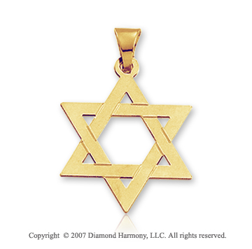 14k Y Gold Traditional Medium Star of David Pendant
