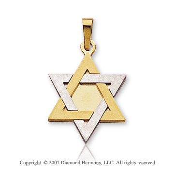 14k Two Tone Gold Modern Small Star of David Pendant