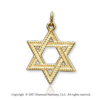 14k Yellow Gold Milgrain Small Star of David Pendant