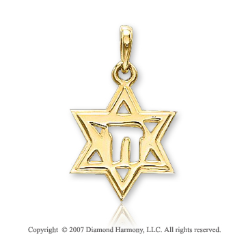 14k Yellow Gold Elegant Small Star of David Pendant