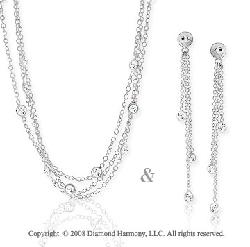 3.40 Carat White Sapphire Sterling Silver Necklace & Earrings Set