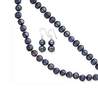 Sterling Silver Black Cultured Pearl Necklace, Earrings and Bracelet Set