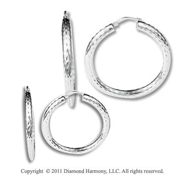 2 Pair Sterling Silver Diamond Cut Hoop Earring Set
