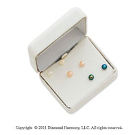 14k Yellow Gold 3 Pair Box Set Cultured Pearl Stud Earrings