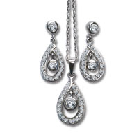 Sterling Silver Cubic Zirconia Drop Earrings and Pendant Set