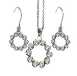 Sterling Silver Bezel Set Cubic Zirconia Earring and Pendant Set