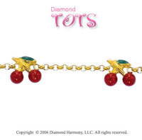 14k Yellow Gold Enamel Cherries Trio Children's Bracelet
