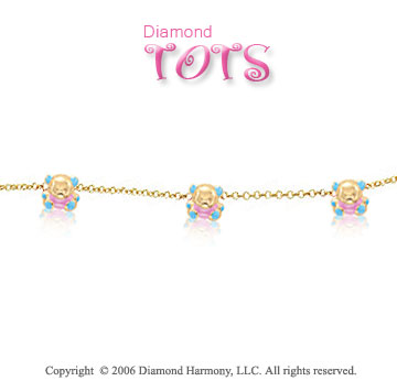 14k Yellow Gold Enamel Teddy Bears Children's Bracelet