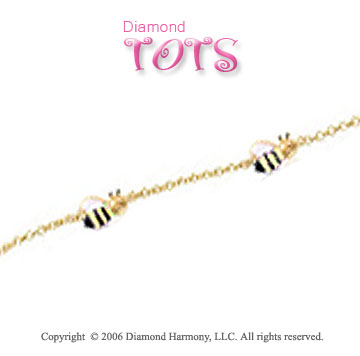 14k Yellow Gold Enamel Buzzing Bees Children's Bracelet