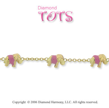 14k Yellow Gold Enamel Elephants Children's Bracelet