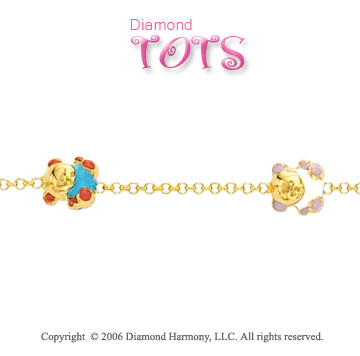 14k Gold Enamel Daisy Anklet. 14k Yellow Gold Enamel Teddy