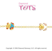 14k Yellow Gold Enamel Teddy Trio Children's Bracelet