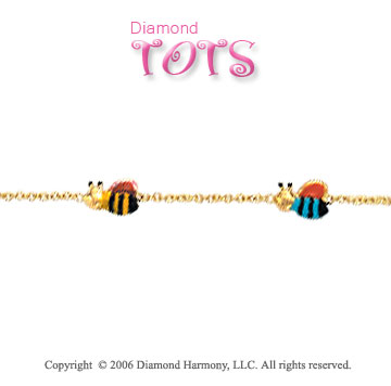 14k Yellow Gold Enamel Bees Trio Children's Bracelet