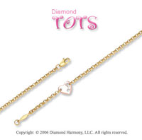 14k Two Tone Gold Gold Diamond Heart Children's Bracelet