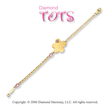 14k Two Tone Gold Gold Pink Sapphire Children's Bracelet