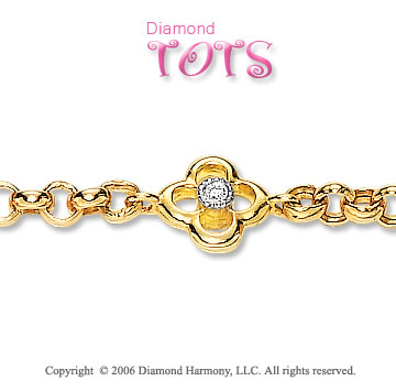.3 Carat Diamond and Pearl 14k Gold Children's Bracelet
