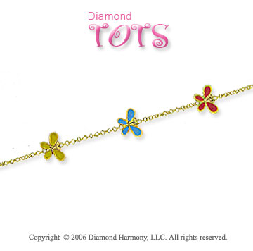 14k Yellow Gold Boy's Butterflies Children's Bracelet