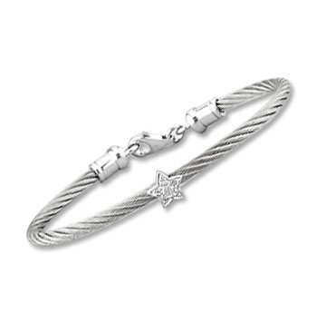 Children's 5 Inch Stainless Steel Diamond Star Bracelet