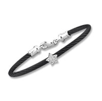 Children's 5 Inch Black Stainless Steel Diamond Star Bracelet