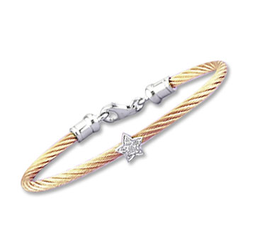 Children's 5 Inch Rose Stainless Steel Diamond Star Bracelet
