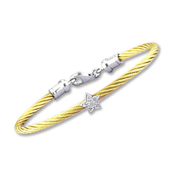 Children's 5 Inch Yellow Stainless Steel Diamond Star Bracelet