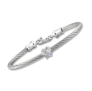 Children's 5 Inch Stainless Steel Diamond X Bracelet